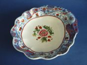 Unusual Spode Fluted Shell Dessert Dish, Pattern 2635 with Clobbered 'Italian' Border c1820